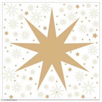 Serviette en papier - Grande étoile dorée sur fond blanc - 20 pcs