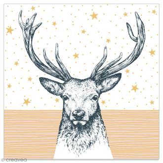 Serviette en papier - Cerf sur fond étoilé blanc et doré - 20 pcs