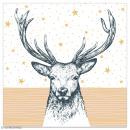 Serviette en papier - Cerf sur fond étoilé blanc et doré - 20 pcs - Photo n°1