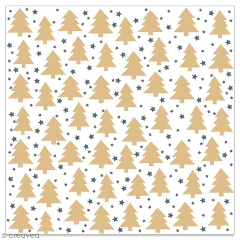 Serviette en papier - Petits sapins dorés et étoiles noires sur fond blanc - 20 pcs - Photo n°1