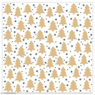 Serviette en papier - Petits sapins dorés et étoiles noires sur fond blanc - 20 pcs