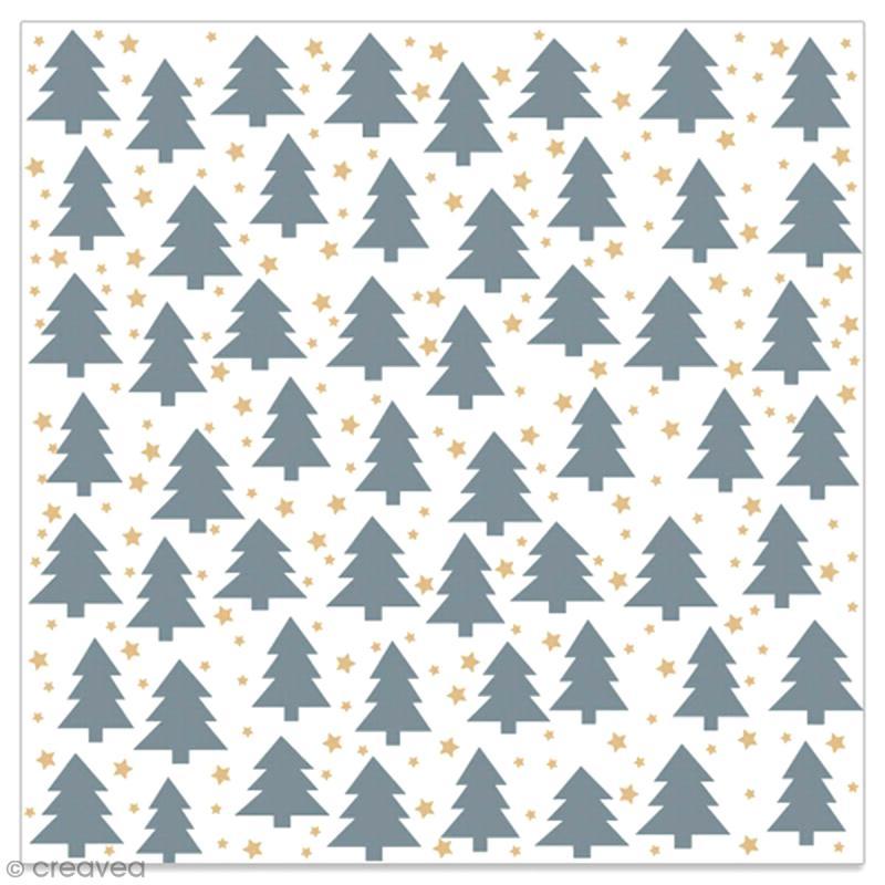 Serviette en papier - Petits sapins gris et étoiles dorées sur fond blanc - 20 pcs - Photo n°1