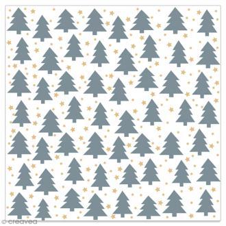 Serviette en papier - Petits sapins gris et étoiles dorées sur fond blanc - 20 pcs