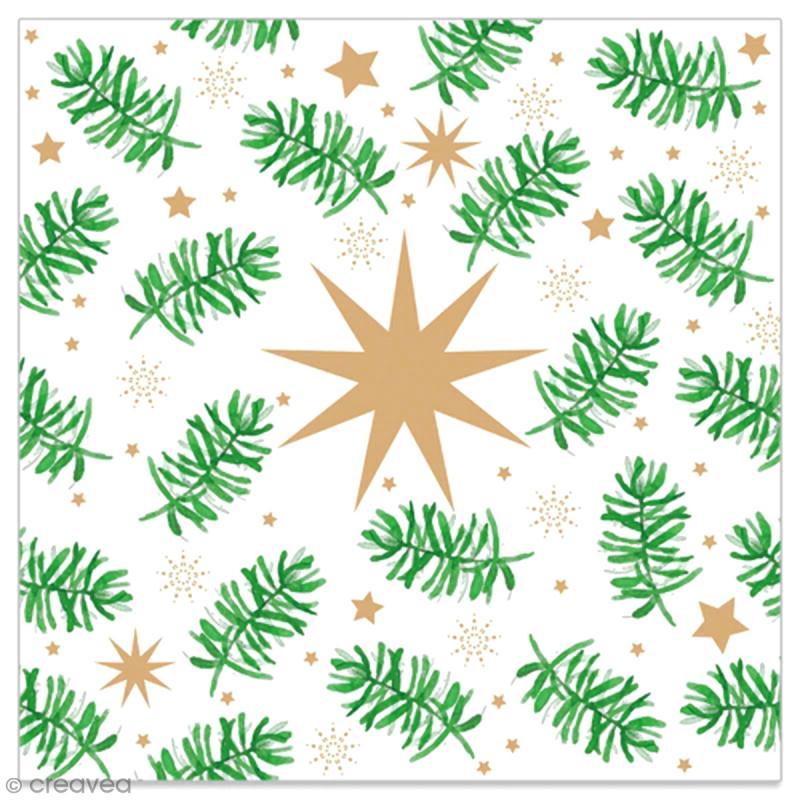 Serviette en papier - Etoiles dorées et branches de sapin sur fond blanc - 20 pcs - Photo n°1