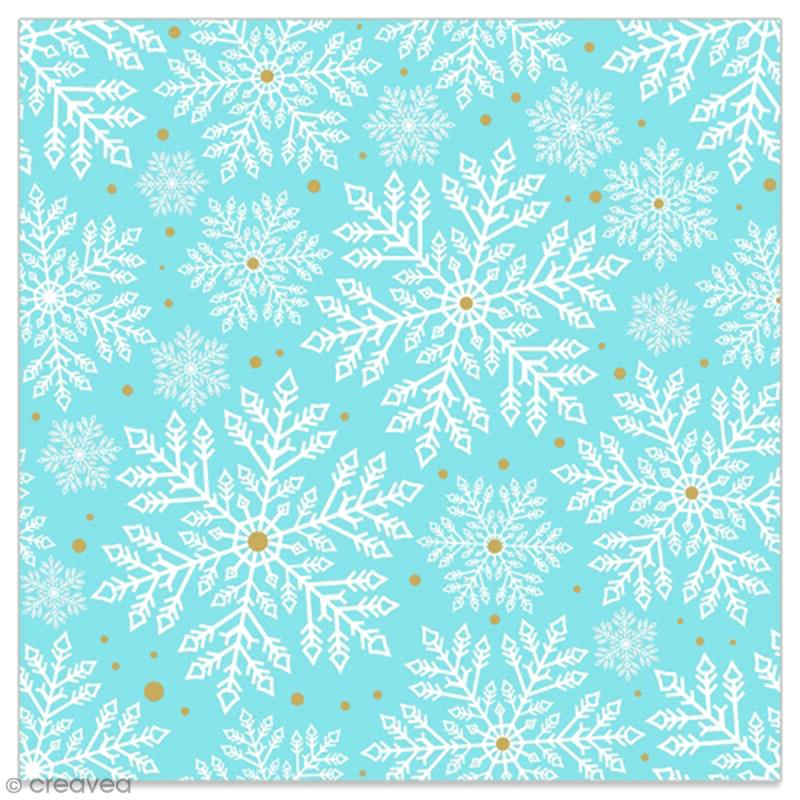 Serviette en papier - Flocons blancs et dorés sur fond bleu ciel - 20 pcs - Photo n°1