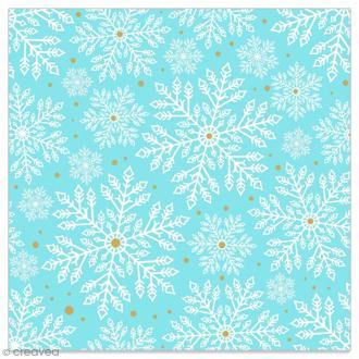 Serviette en papier - Flocons blancs et dorés sur fond bleu ciel - 20 pcs