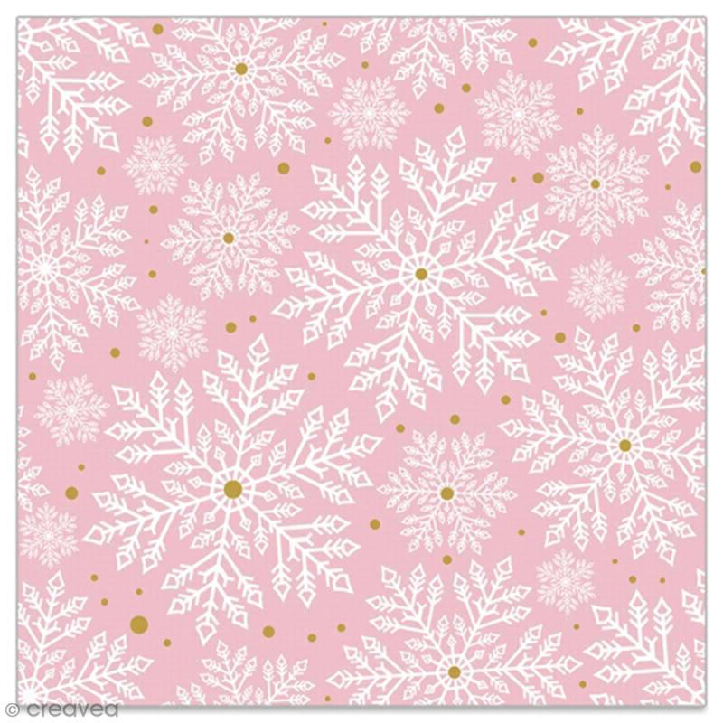 Serviette en papier - Flocons blancs et dorés sur fond rose clair - 20 pcs - Photo n°1
