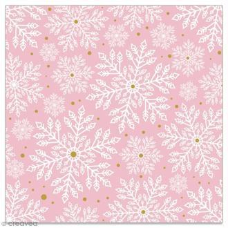 Serviette en papier - Flocons blancs et dorés sur fond rose clair - 20 pcs