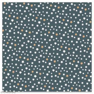Serviette en papier - Petites étoiles blanches et dorées sur fond gris anthracite - 20 pcs