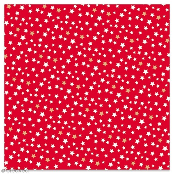Serviette en papier - Petites étoiles blanches et dorées sur fond rouge - 20 pcs - Photo n°1