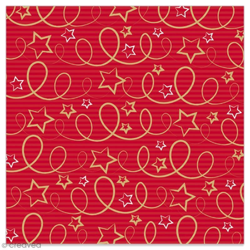 Serviette en papier - Etoiles et serpentins dorés sur fond rayé rouge - 20 pcs - Photo n°1