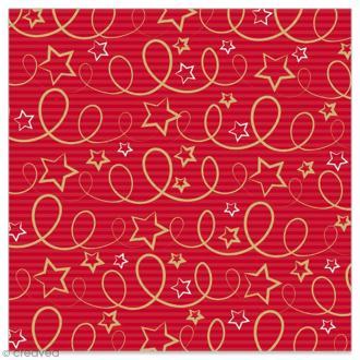 Serviette en papier - Etoiles et serpentins dorés sur fond rayé rouge - 20 pcs