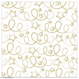 Serviette en papier - Etoiles et serpentins dorés sur fond blanc - 20 pcs