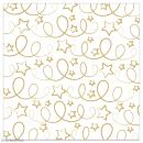 Serviette en papier - Etoiles et serpentins dorés sur fond blanc - 20 pcs - Photo n°1