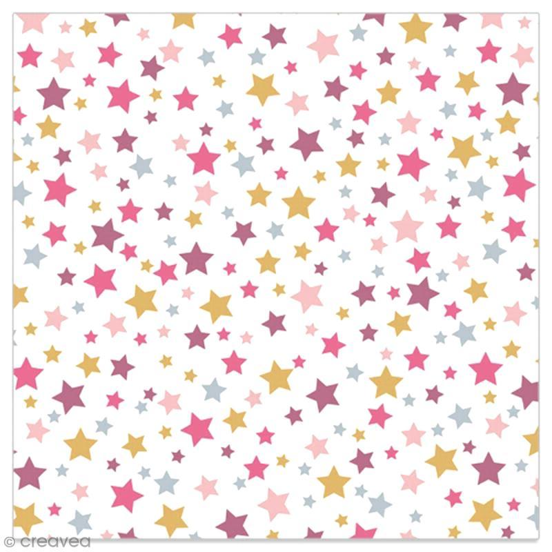 Serviette en papier - Etoiles violettes, roses et dorées sur fond blanc - 20 pcs - Photo n°1