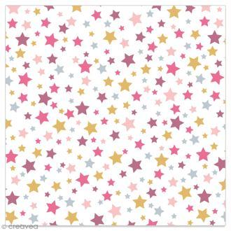 Serviette en papier - Etoiles violettes, roses et dorées sur fond blanc - 20 pcs