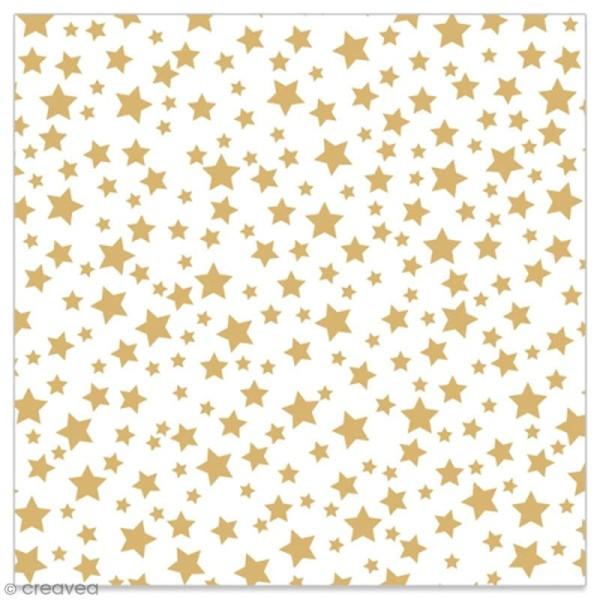 Serviette en papier - Etoiles dorées sur fond blanc - 20 pcs - Photo n°1