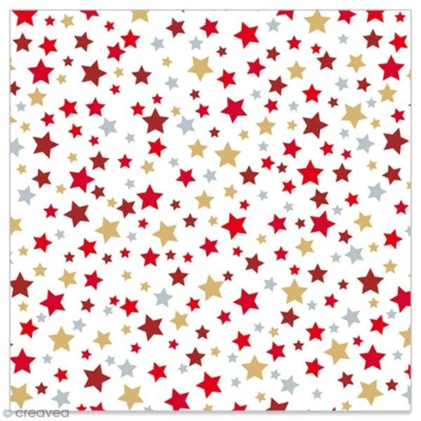 Serviette en papier - Etoiles rouges, dorées et argentées sur fond blanc - 20 pcs - Photo n°1