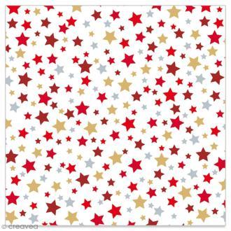 Serviette en papier - Etoiles rouges, dorées et argentées sur fond blanc - 20 pcs
