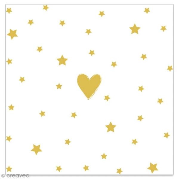 Serviette en papier - Coeur et étoiles dorés sur fond blanc - 20 pcs - Photo n°1