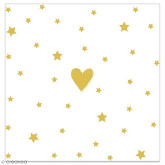 Serviette en papier - Coeur et étoiles dorés sur fond blanc - 20 pcs