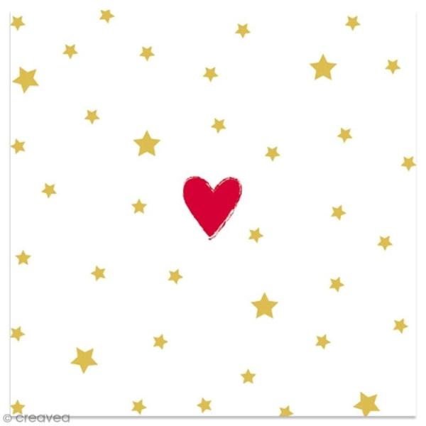 Serviette en papier - Coeur rouge et étoiles dorées sur fond blanc - 20 pcs - Photo n°1