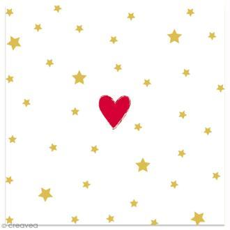 Serviette en papier - Coeur rouge et étoiles dorées sur fond blanc - 20 pcs