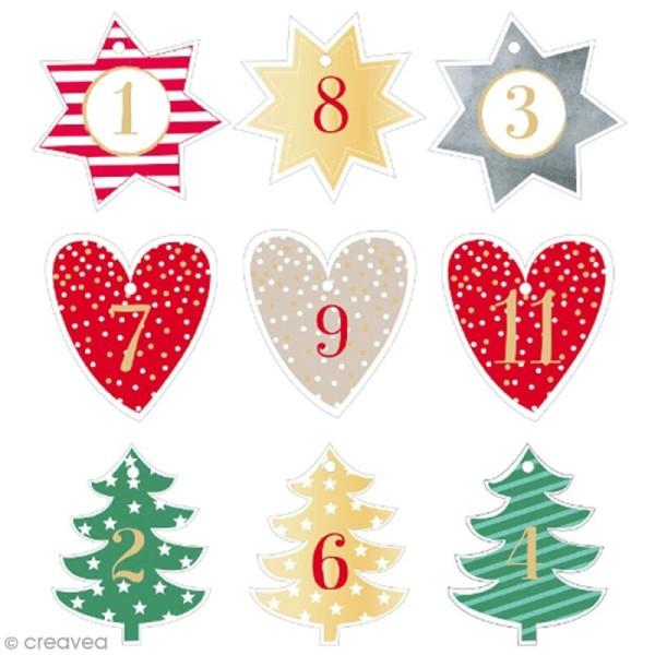 Etiquettes calendrier de l'avent numérotées - Etoile, sapin, coeur - 7 cm - 24 pcs - Photo n°2