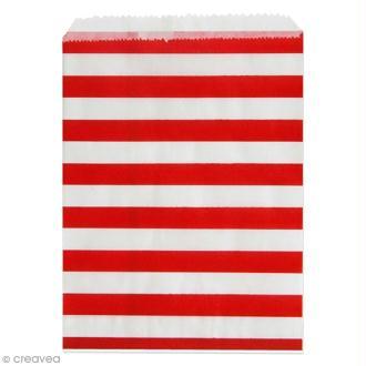 Lot de sachets 13 x 18 cm en papier - Rayé rouge et blanc - 24 pcs