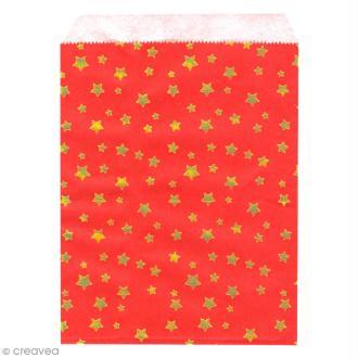 Lot de sachets 13 x 18 cm en papier - Etoiles dorées fond rouge - 24 pcs