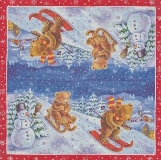 4 Serviettes en papier Nounours Ski Noël Format Lunch