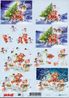 Feuille 3D à découper A4 Ours Sapin Noël