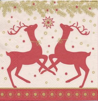 4 Serviettes en papier Décor Noël Cerf Format Lunch