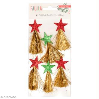 Pampilles étoiles à paillettes Crate Paper - Collection Falala - Rouge, vert, doré - 6 pcs