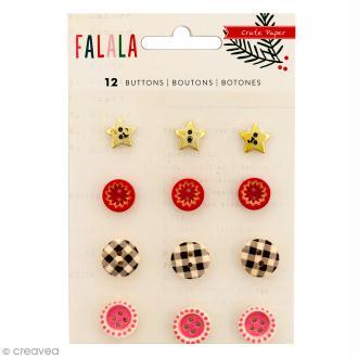 Boutons décoratifs Crate Paper - Collection Falala - 12 pcs