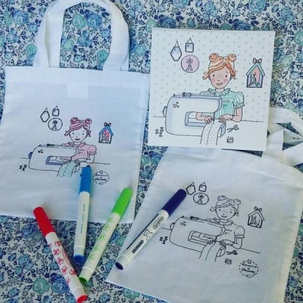 1 Sac enfant à costomiser + 8 feutres textiles - Photo n°1