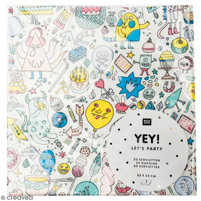 Serviettes en papier - Monster Party - 20 pcs - Photo n°1