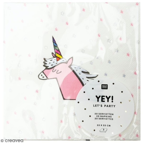 Serviettes en papier - Licorne - 20 pcs - Photo n°1