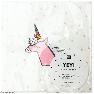 Serviettes en papier - Licorne - 20 pcs
