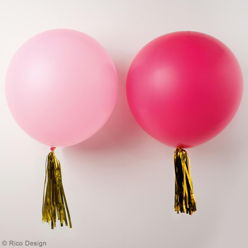 Maxi Ballons de baudruche Rico Design YEY - Rose clair et rose fuchsia - 90 cm - 2 pcs - Photo n°2