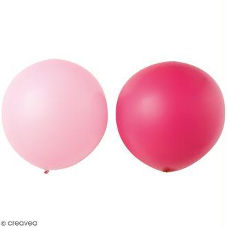 Maxi Ballons de baudruche Rico Design YEY - Rose clair et rose fuchsia - 90 cm - 2 pcs