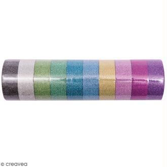 Assortiment Masking tape Pailletté - 10 couleurs - 1,5 cm x 5 m