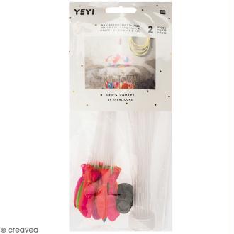 Grappe de ballons bombes à eau Rico Design YEY - Multicolore - 3,5 cm - 2 x 37 pcs