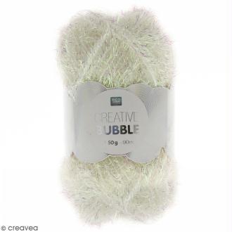 Creative Bubble - Fil à crocheter pour éponge - Blanc irisé - 50 g