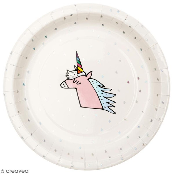 Assiettes en carton Rico design - Licorne - 23 cm - 12 pcs - Photo n°1