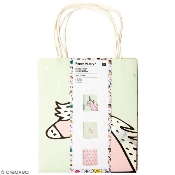 Lot de sacs en papier - Magical summer licorne - 18 x 21 cm - 3 pcs - Photo n°1