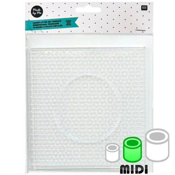 Plaque carrée pour perles à repasser Maxi - Picots décalés - 14 x 14 cm - 2 pcs - Photo n°1