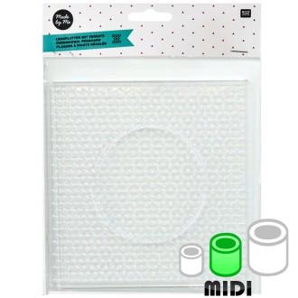 Plaque carrée pour perles à repasser Maxi - Picots décalés - 14 x 14 cm - 2 pcs