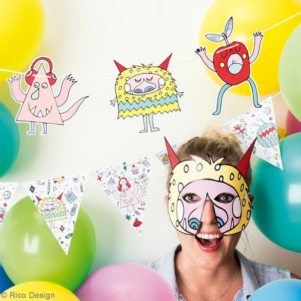 Masques Monster party - Paper Poetry - 7 pcs - Photo n°2