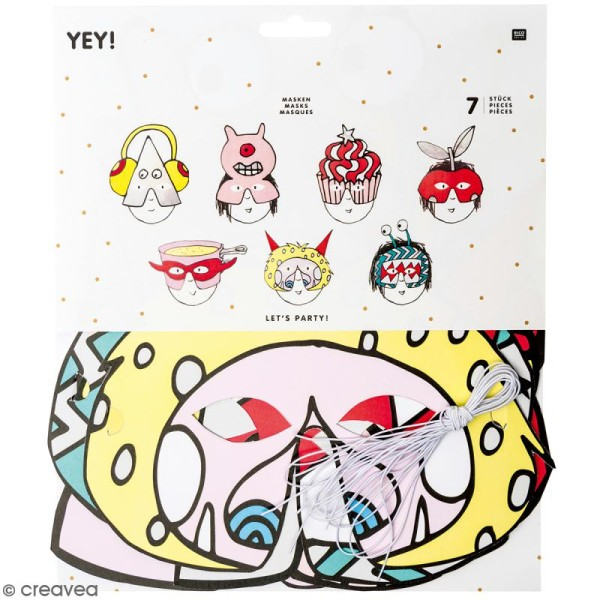 Masques Monster party - Paper Poetry - 7 pcs - Photo n°1